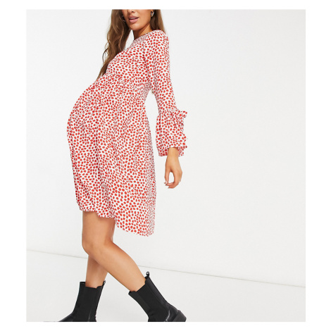 Queen Bee Maternity frill sleeve mini dress in red spotted print