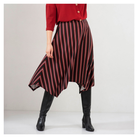 Pruhovaná asymetrická sukně černá/bordó