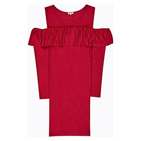 GATE Pouzdrové šaty s odhalenými rameny a volánem