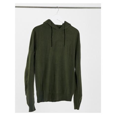 Threadbare soft touch hooded jumper in dark khaki-Green