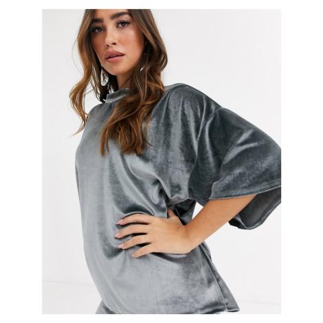 Missguided co-ord velvet t-shirt in grey