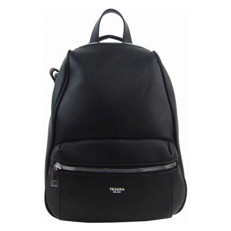 TESSRA MILANO Elegantní černý dámský batoh / kabelka 4944-TS