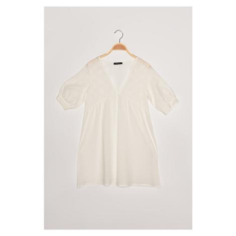Trendyol White Brocade Beach Dress