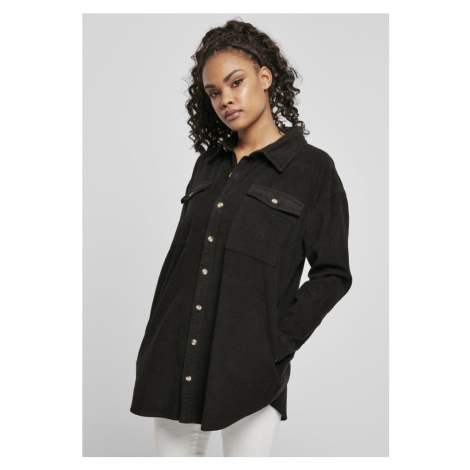 Ladies Long Corduroy Overshirt - black Urban Classics