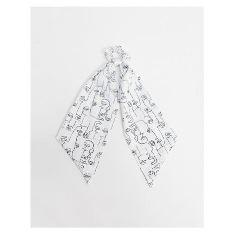 ASOS DESIGN face print hair scarf in black and white