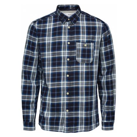 SELECTED HOMME Košile 'Luke' noční modrá / nebeská modř / šedý melír / bílá