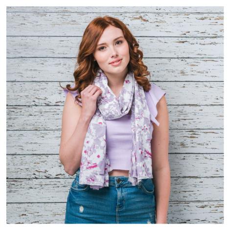 Saffron & Co bílý-fialový dámský maxi šátek Sybil 11