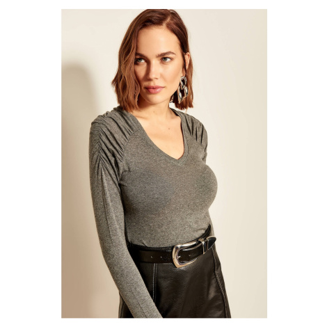 Trendyol Ruffled Gray Sleeve Sweater Sweaters