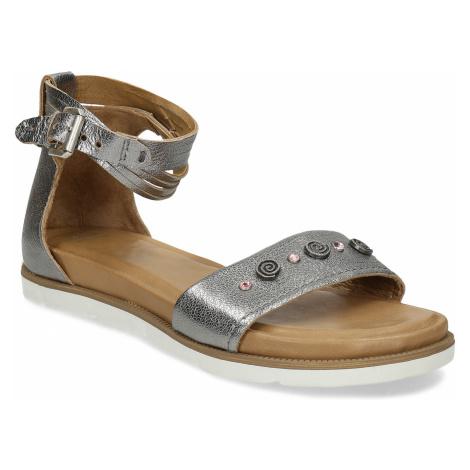Stříbrné dámské kožené sandály s kamínky