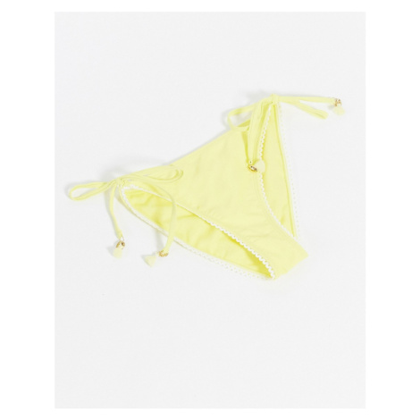 River Island moulded triangle textured bikini bottoms in yellow
