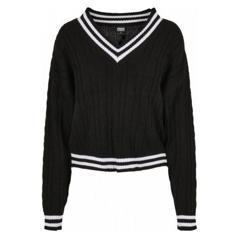 Ladies Short V-Neck College Sweater - black/white Urban Classics