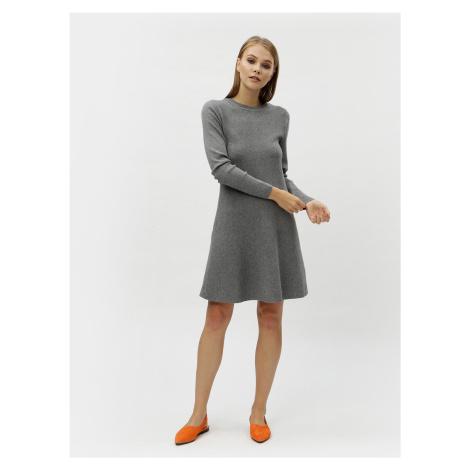 Šedé žíhané svetrové šaty s dlouhým rukávem VERO MODA Nancy