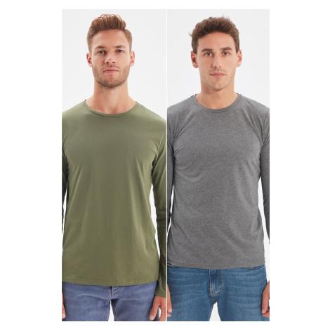 Trendyol Khaki-Anthracite Men's 2-Pack Basic Slim Fit Single Jersey Crew Neck Long Sleeved T-Shi
