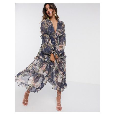 ASOS DESIGN ruched tiered midi dress in navy floral print with lace trim-Multi
