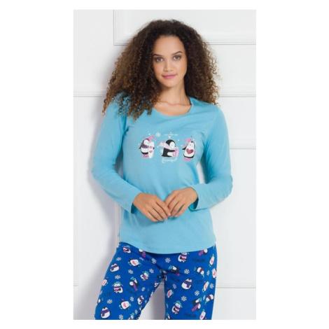 Dámské pyžamo dlouhé Vienetta Secret Winter | tyrkysová