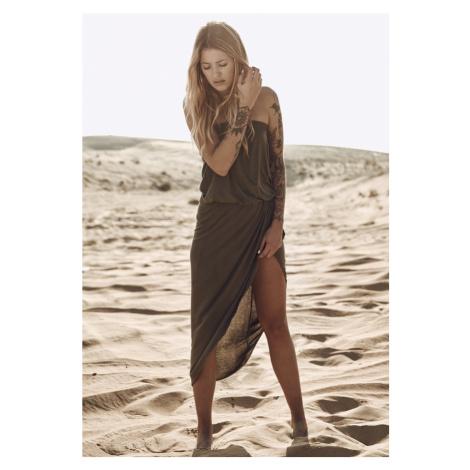 Ladies Viscose Bandeau Dress - olive Urban Classics