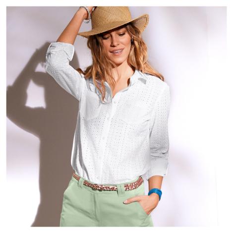 Blancheporte Košile s anglicku výšivkou bílá