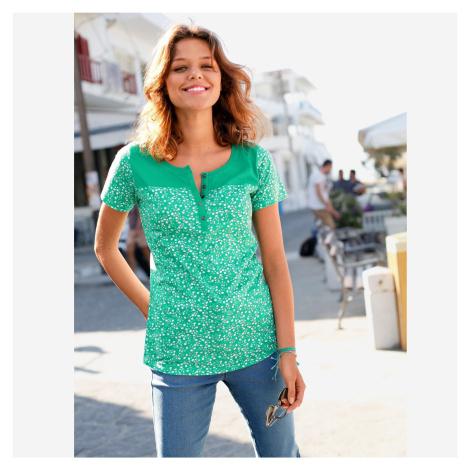Tričko s tuniským výstřihem a puntíky zelená