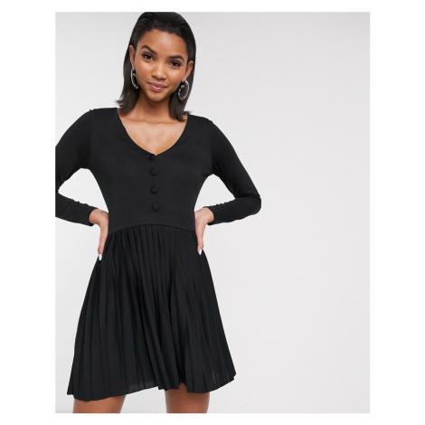 ASOS DESIGN long sleeve pleated mini dress in black