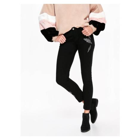 Top Secret Kalhoty dámské černé se zdobením
