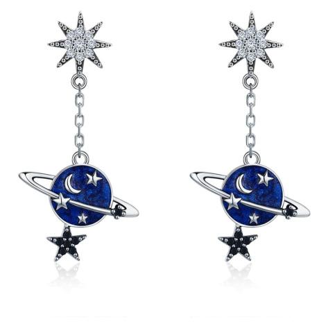 Linda's Jewelry Stříbrné náušnice Visací Měsíc a Hvězdy Ag 925/1000 IN176