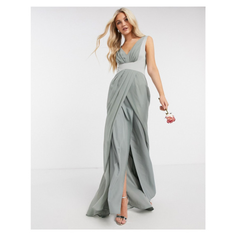 ASOS DESIGN Bridesmaid pleated detail bodice maxi dress with button back detail in olive-Green