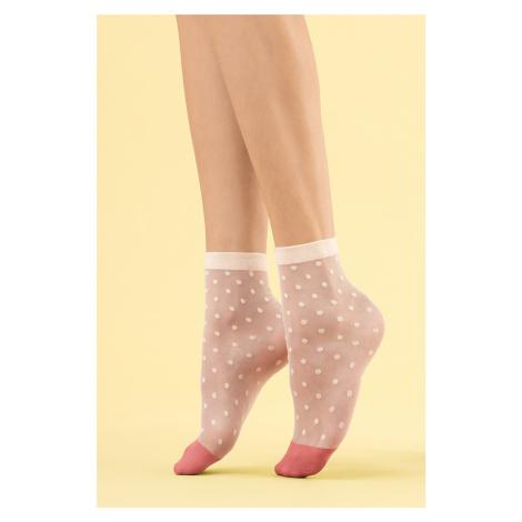 Smetanové ponožky s puntíky Panna Cotta 8DEN Fiore