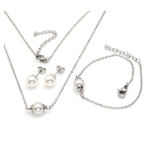 Linda's Jewelry Sada šperků Perlový styl chirurgická ocel IS054