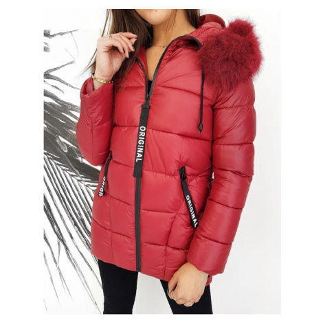 Dámský prošívaný kabát bordo zimní bunda s kožíškem