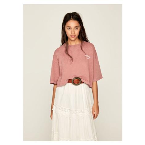 Pepe Jeans Pepe Jeans dámské růžové oversize tričko Laila