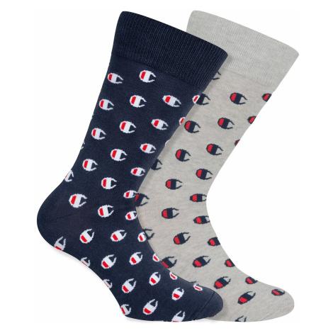 Ponožky Unisex Champion 9LN 2PACK modrá/šedá | vzorované