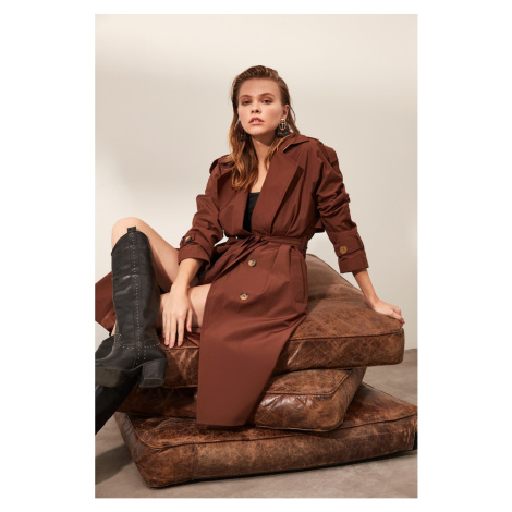 Trendyol BrownWater Propulsion Featured Button-Off Long Trench Coat