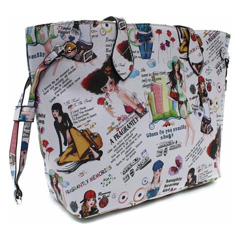 Šedá dámská kabelka přes rameno s motivem Lucette Tapple