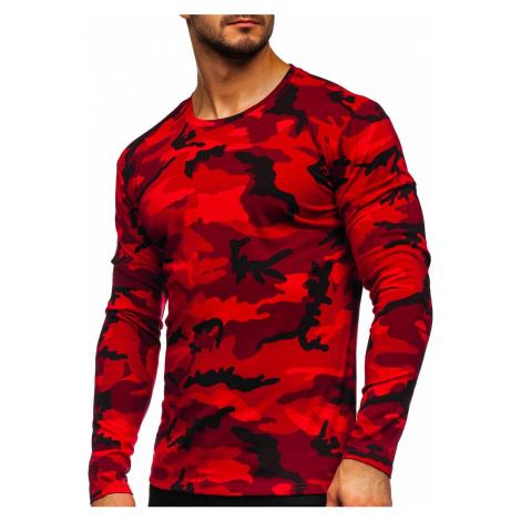 Červené pánské maskáčové tričko s dlouhým rukávem Bolf 2088-1 J.STYLE