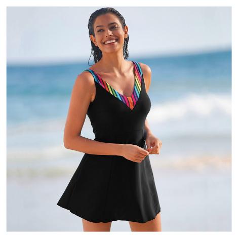 Blancheporte Jednodílné plavky se sukénkou Duha, barevné pruhy ve výstřihu vícebarevná/černá
