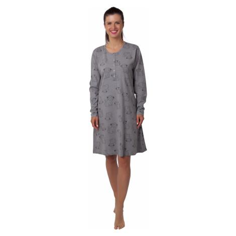Dámská noční košile - CALVI 20-349, šedý melír