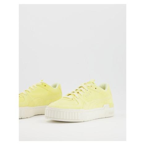 Puma Cali Suede gum sole trainers in yellow