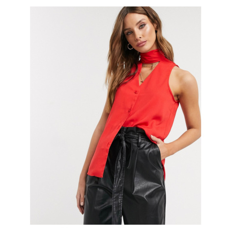 Closet sleeveless pussy bow blouse in red