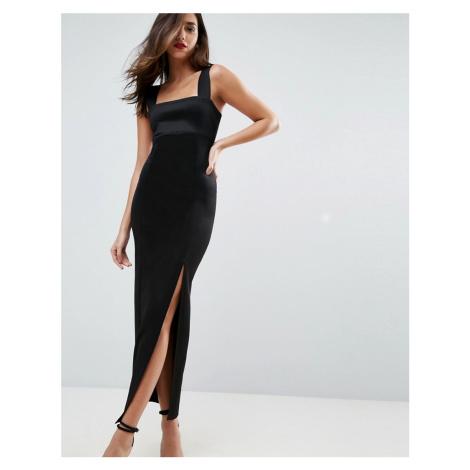 ASOS DESIGN square neck scuba maxi dress with thigh split-Black