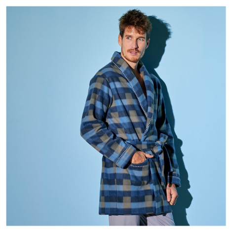 Blancheporte Domácí kabát z polar fleecu kostka modrá