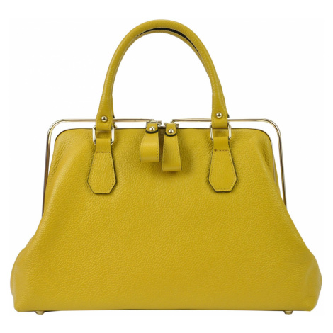 Kožená kufříková kabelka Florence 19 hořčicová FLORENCE BAGS