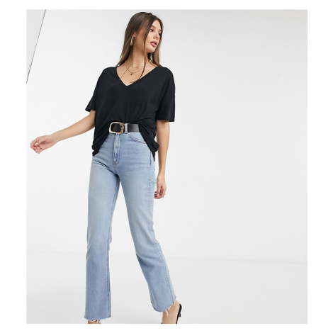 ASOS DESIGN Tall oversized v neck top with curved hem in clean rib in black