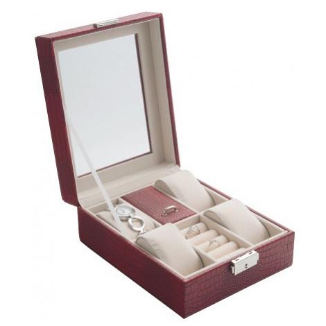 JK BOX SP-1810/A7, Dámská kazeta na hodinky a šperky červená JKbox