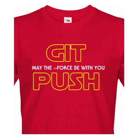 Pánské tričko pro programátory GIT, MAY THE FORCE BE WITH YOU, PUSH