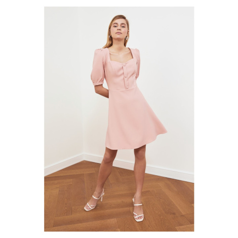 Trendyol Balloon Sleeve Dress with Pink Button DetailING