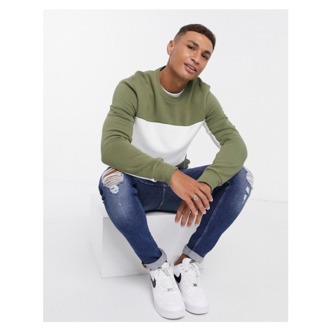New Look sweat with panels in khaki-Green