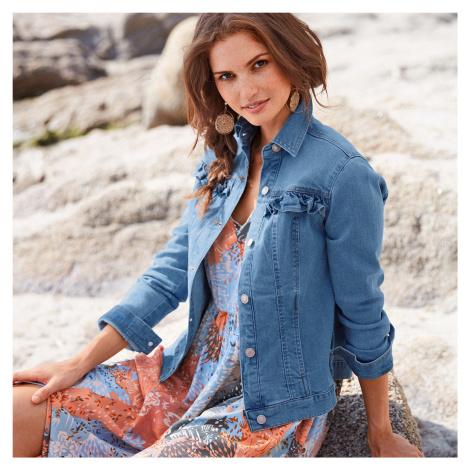 Blancheporte Krátká džínová bunda s volány sepraná modrá