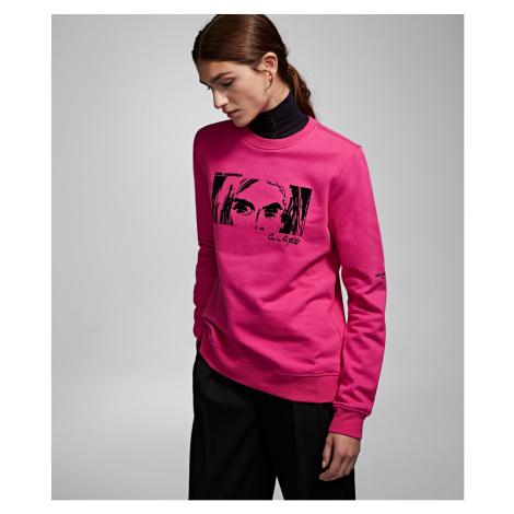 Mikina Karl Lagerfeld Karl X Carine Flocked Sweat - Růžová