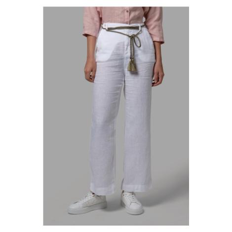 Kalhoty La Martina Woman Trousers Light Linen - Bílá