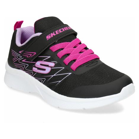 Dívčí černé tenisky s růžovými prvky na suchý zip Skechers